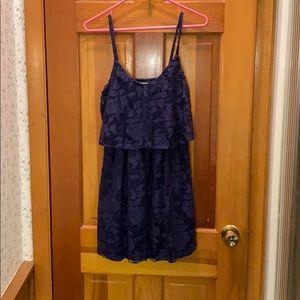 Navy blue floral lace dress